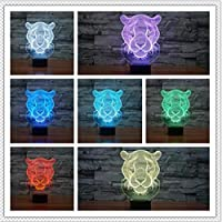 Wuqingren 7 Colors Changeing 3D Wild Beast Male Lion USB Touch Flash Party LED Illusion Night Light Man Boys Birthday Toy Gifts,Touch One 7 Color