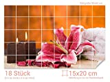 GRAZDesign 761041_15x20_60 Fliesenaufkleber Kerzen/Lilie für Kacheln | Bad-Fliesen mit Fliesenbildern überkleben (Fliesenmaß: 15x20cm (BxH)//Bild: 90x60cm (BxH))