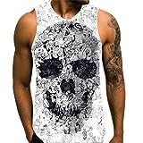 Herren Tank Top, 3D Druck Skull Totenkopf Sommer Gym Sport Tanktops Ärmellos T-Shirts Weste Muscle-Shirt Casual Top für Männer - Luotuo