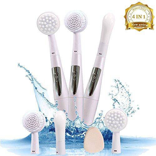 Vibration électrique multifonctionnelle Sonic Facial Cleansing Brush Skin Peeling System Massage purifiant, facial et oculaire IPX7 Fonction imperméable à l'eau avec 4 soins interchangeables pour le c