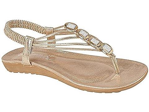 Ladies Emma Shalimar Faux Leather Metallic Toe Post Sling Back Low Wedge Flat Summer Sandals Size 3-8 (UK 5,
