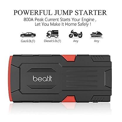 515jr844vtL. SS416  - Beatit D11 800 A pico 18000 mAh 12 V arrancador de coche portátil (hasta 7,5 L de gas o 5,5 L diésel) con Smart Jumper Cables Auto batería Booster Power Pack