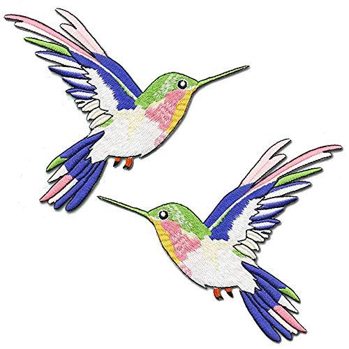 m Aufbügeln (2 Stück), Kolibri, Stickerei, Aufnäher, DIY Dekoration, Reparatur ()