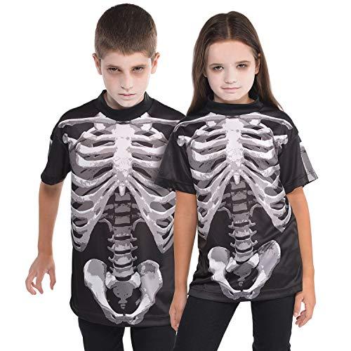 Skelett Schwarz Anzug Kostüm Kind - Kinder Unisex T-Shirt Kochenaufdruck Bone Skelett Gr. 8-10 Jahre - Halloween Grusel
