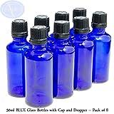 8er-PACKUNG - 50ml BLAUGLAS-Flaschen mit Schwarzen Sicherheitsverschlusskappen & Dosier-Tropfern. Ätherisches Öl / Verwendung in Aromatherapie