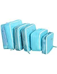 Wandisy 5 Unids Equipaje de Viaje Maleta de Almacenamiento Bolsa de Ropa Ropa Interior Bolsa de Empaque, Manta Organizador de Armario Bolsa(Azul)