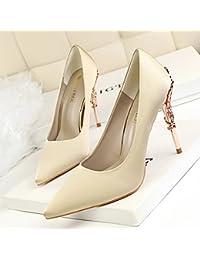 Xue Qiqi Pointe de la haute-talon léger satin est très bien avec des chaussures simples, chaussures femmes rouge sauvage 8cm