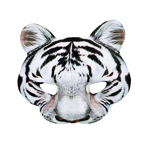Rappa Tolle, lebensechte Tiermaske 3D Maske Weißer Tiger für Kinder ab 3 Jahren