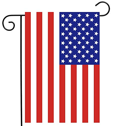 USA American Flag 4th of July Garden Yard Flag Double Sided, Polyester Veterans Memorial Independence Day Welcome House Flag Banners for Patio Lawn Outdoor Home Decor Size: 28-inches W X 40-inches H -