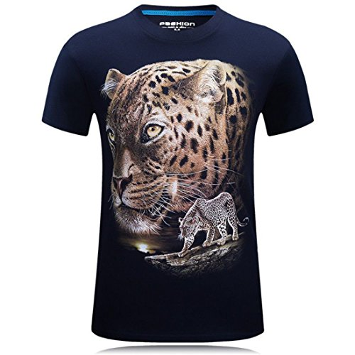 Men's High Quality O-Neck Leopard 3D Printed T Shirts 1012 Navy Blue