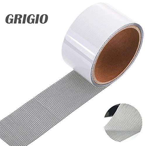 Nastro per Riparare Zanzariere Nastro Adesivo in Fibra di Vetro per Finestre Insetto, 5cm x 200cm(Grigio)