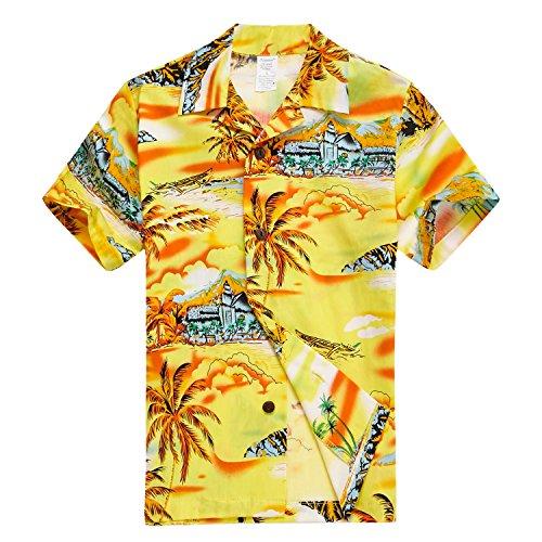 Chico-joven-adulto-hawaiano-Aloha-Luau-camisa-en-amarillo-Mapa-y-surfista