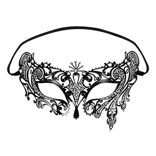 sky tears Mascarada Máscara Sexy Mujer Fashion Cortado con Láser para Metal Partido Cosplay Veneciano Máscara (Negra E)