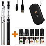 LoVaper® E Cig Complete Vape Set- Double 1100mAh Vape Pens(Micro USB Charge) + 5 Bottles Premium Vape Liquid, 1.6ml CE4 Atomizer Refillable No Nicotine E Cigarette Starter Kit