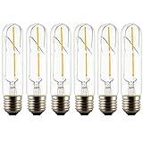 6 Stück LED T30 E27 2W Filament Glühbirne Edison Vintage Dekorativen Rohrförmige Glühlampe Birne Warmes Licht 2200K,360°Abstrahlwinkel AC85-265V