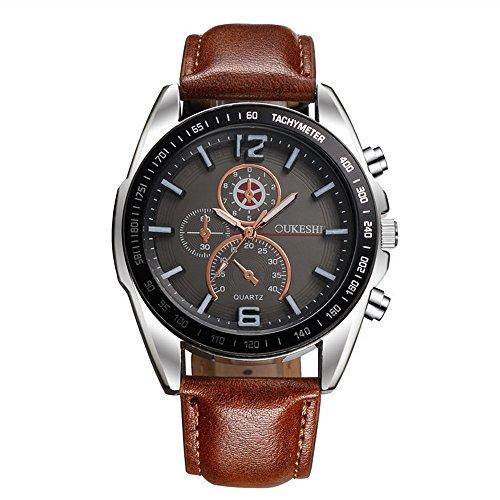 Papasgjx Armbanduhr Männer Quarzuhr wasserdicht schwarz runden Zifferblatt mit silbernen Phantasie Grenze Business Design Armband braun 24,5 cm (Design Grenze)