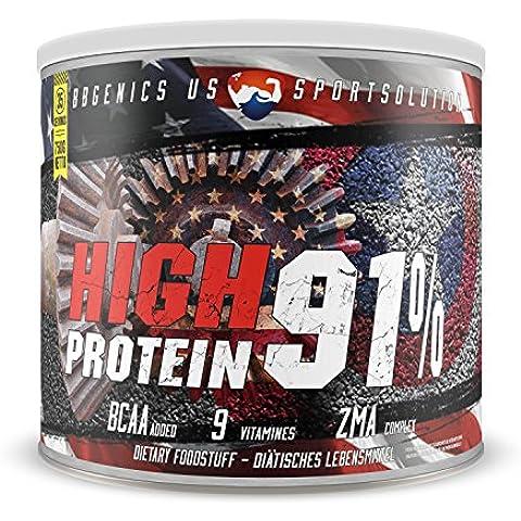 BBGENICS, High Protein 91%, meno dell'1% di grassi, 1% Carboidrati, caseina e siero, proteine in polvere senza aspartame, 750g cioccolata