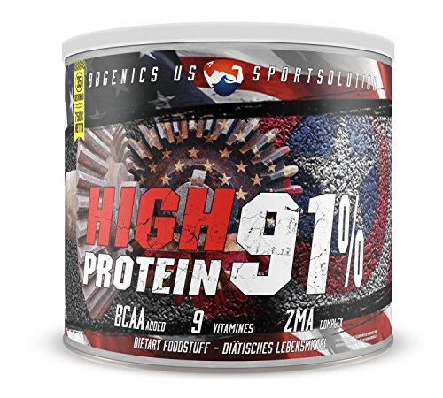 BBGENICS, High Protein 91%, meno dell'1% di grassi, 1% Carboidrati, caseina e siero, proteine in polvere senza aspartame, 750g banana