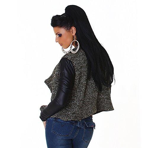 Blanco Store - Cardigan Donna Maglione Manica Lunga Pelle Sintetica Pullover Aperto Verde