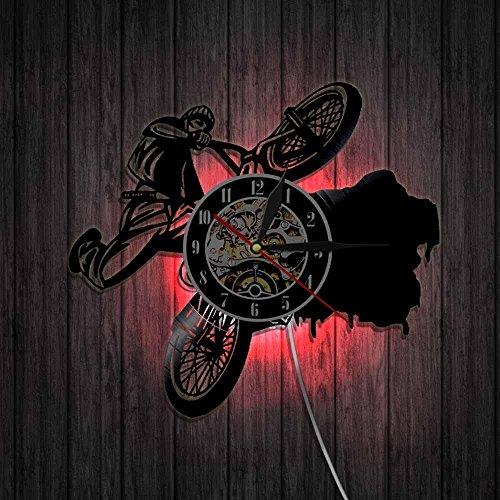 ZJWZ Reiten Bikes BMX Sports Uhren Dirt Bike Track Racks Vinyl Record Wall Clock Fahrrad Wandkunstdekor Für Wohnzimmer