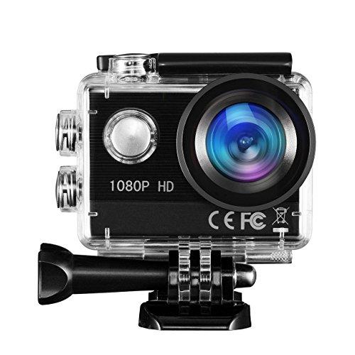 Action Cam TOPELEK FHD 1080P 16MP Action Camera 170Ultra-Weitwinkel Helmkamera Unterwasserkamera Full HD 2,0 Zoll Bildschirm 30m/98 Fuß Wasserdichte Sports Kamera Wiederaufladbare 1350mAh Batterie Sport Action Kamera Zubehör Kits.