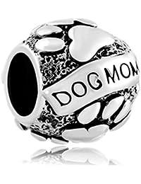 """Uniqueen Fit Pandora Charms - Abalorio para pulsera tipo Pandora, diseño con huellas y texto """"Dog Mom"""""""