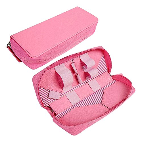 Tuff-Luv Ladies Vintage Faux Leather Luxury Travel Case & Refill Holder for E-Cig Box Mod Vape Pen – Pink