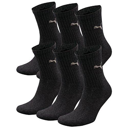 brand new 8cc67 04d4c Puma Crew Lot de 6 paires de chaussettes de sport avec dessous en éponge  Gris anthrazit