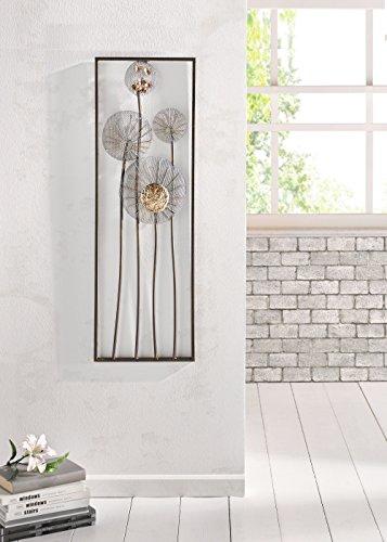 Dcoration-murale-en-mtal-Flowers-in-schimmernder-rouille