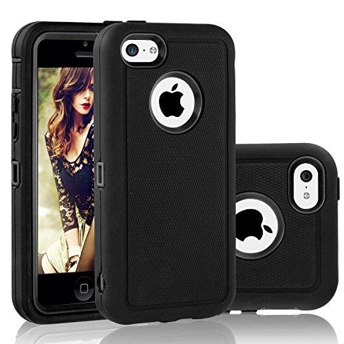 iPhone 5c Hülle : FOGEEK 3in1 Stoßfest Hybrid High Impact Hart PC und Weißhe Silikon Tasche Schutzhülle für iPhone 5c (Weinrot) Schwarz