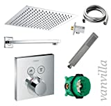 vanvilla Dusch-Set Unterputz Armatur Hansgrohe ShowerSelect Thermostat Regenduschkopf 30x30 cm poliert Set HG02