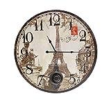 Grosse Wanduhr mit Pendel Eiffelturm Paris Antik-Stil 58cm