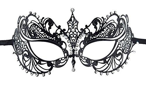 KEFAN Masquerade Maske Halloween Party Mardi Gars Maske Krone Laser Schnitt Filigran Metall Maske (Schwarze) (Masken Für Masquerade Party)