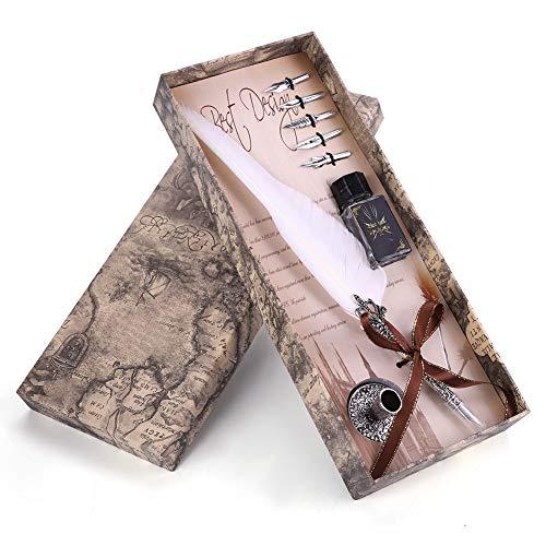 Schreibfeder, Natur Feder Dip Pen Kalligraphie Kugelschreiber Geschenk Set (Weiß)