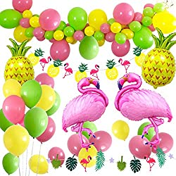 MMTX Décoration de Fête de Plage Hawaïenne, Accessoires de Fête D'été Tropicales Luau Hawaii Thème Party avec des Ballons d'hélium d'ananas de Flamingo, bannière Decor Bunting Bunting et Ballons