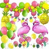 MMTX Hawaiian Beach Party Dekoration, tropischen Sommer Party Supplies Luau Hawaii Thema Party mit Flamingo Ananas Helium Ballons, Dekor Garland Bunting Banner und Latex Party Ballons Pack von 36