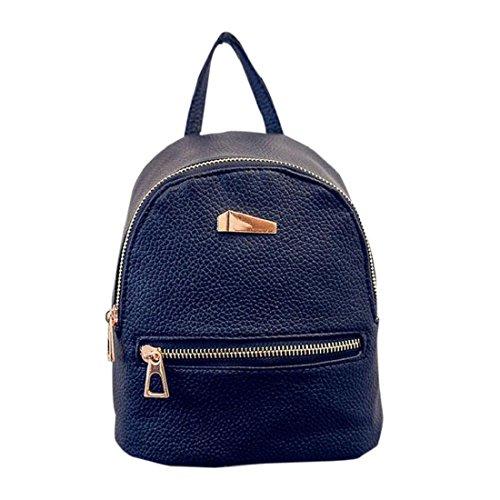 Tongshi Nuevo recorrido del morral del bolso de escuela de la mochila de la mujer (Negro)
