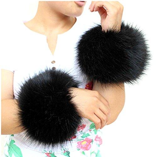 Preisvergleich Produktbild SwirlColor Faux Fur Wrist Band Ring Cuffs Wärmer für Frauen - Schwarz
