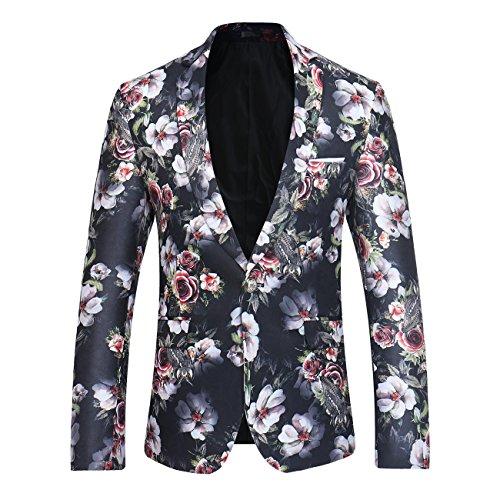 Herren Modern Slim Fit Business Casual Blumenmuster Anzug Jacke Blazer (023 Schwarz,S)