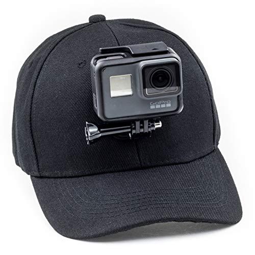 Digicharge Baseballkappe mit Action-Kamera-Halterung, kompatibel mit GoPro Hero Akaso Crosstour Campark Fitfort Garmin VIRB Apeman Sony Camkong Motorola Victure Kitvision Nikon Cam, Schwarz