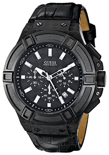 guess men's u0408g1 rigor chronograph watch with stopwatch function & date