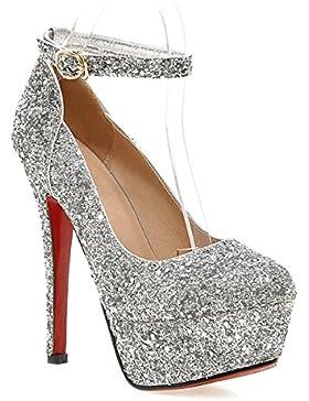 YE Damen Knöchelriemchen Glitzer Pumps Stiletto Geschlossene High heels Plateau mit Schnalle Elegant Party Schuhe