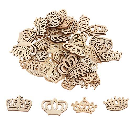 Unfertigen Holz-stücke (P Prettyia 50 Stücke Mini Kronen Holz Deko Holzscheiben Konfetti Streudeko Verzierung für Tisch und Wand)
