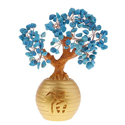 P prettyia ricchezza lucky soldi alberi feng shui cristallo plastica ornamenti per casa - blu