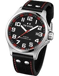 TW Steel Herren-Armbanduhr XL Pilot Analog Quarz Leder TW-411