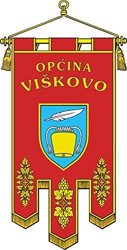 Preisvergleich Produktbild Flagge Die zeremonielle Flagge der Gemeinde Vikovo | Hochformat Fahne | 0.06qm für Diplomat-Flags Autofahnen