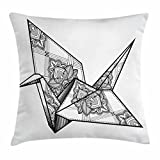 Kailey hello Art Throw Pillow Cushion Cover, Origami Style Crane Bird Design Hand Drawn Monochrome Far East Asia Folklore Motif, 18 X 18 Inches, Black and White