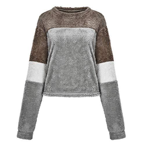 Preisvergleich Produktbild Tianwlio Damen Lässige Langarmshirt Hoodie Pullover Langärmliges Spleißen O Hals Flauschige Lässige Sweatshirt Top Bluse Grau XL