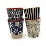 Set/4 Becher Tasse ohne Henkel Kaffeebecher Kaffeetasse Teetasse Geschirr Keramik Bemalt Bunt - Gall&Zick