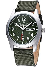 SKONE Quartz Mens Womens Watch with Canvas PU Strap Date Week Number Scale (Navy green)